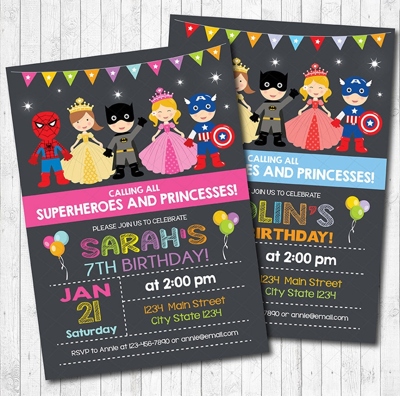 princess and superhero invitation
