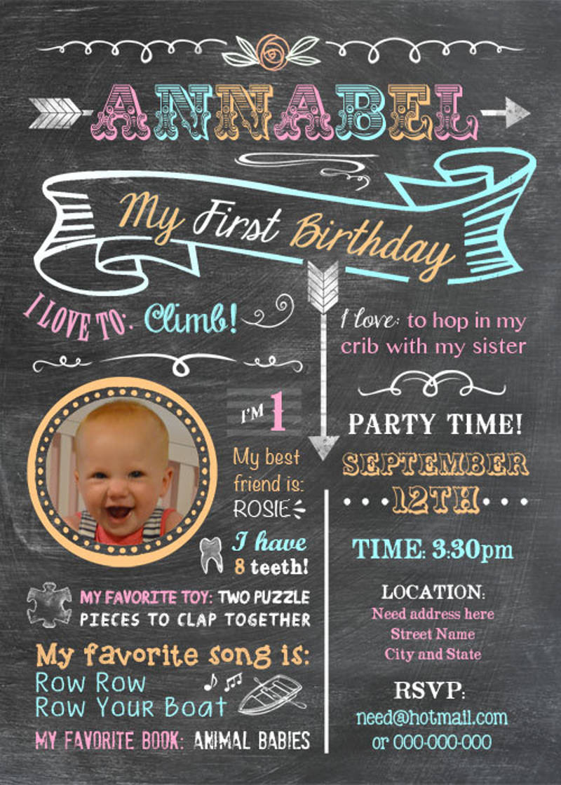printable babys firsts birthday invitation boy girl