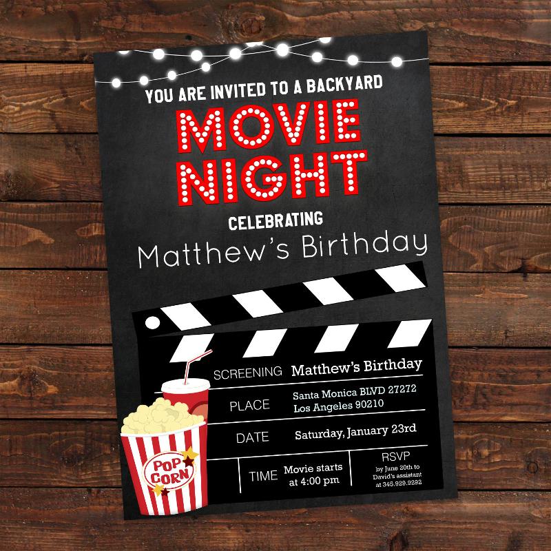 printable backyard movie night party invitation