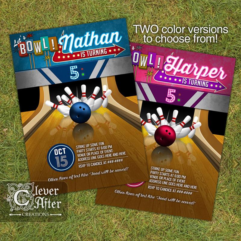 printable bowling invitation