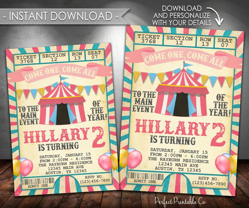 printable carnival birthday invitation