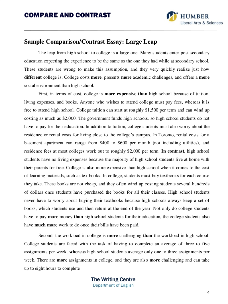 9 Comparative Essay Samples Free PDF Format Download - Compare And Contrast Essay Example College
