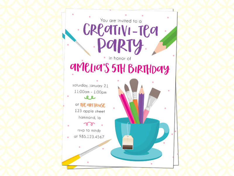 printable creative tea party invitation