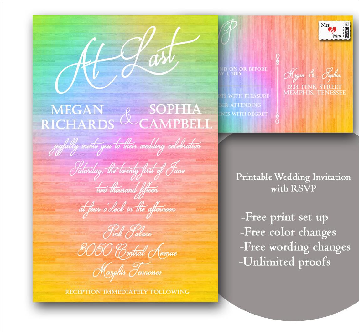 printable gay wedding invitation