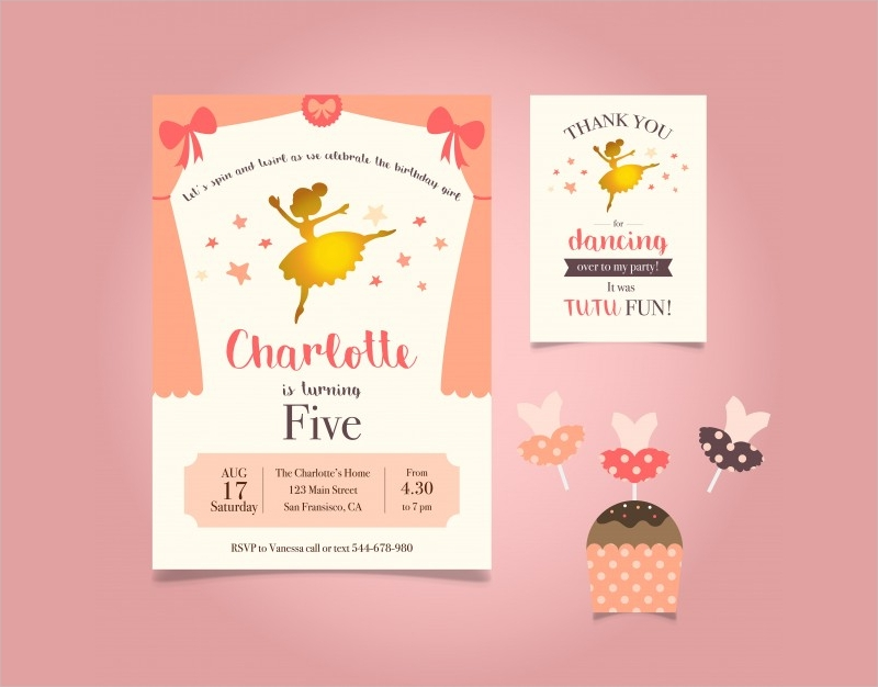 printable girls birthday party invitation