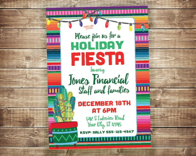 printable holiday fiesta invitation