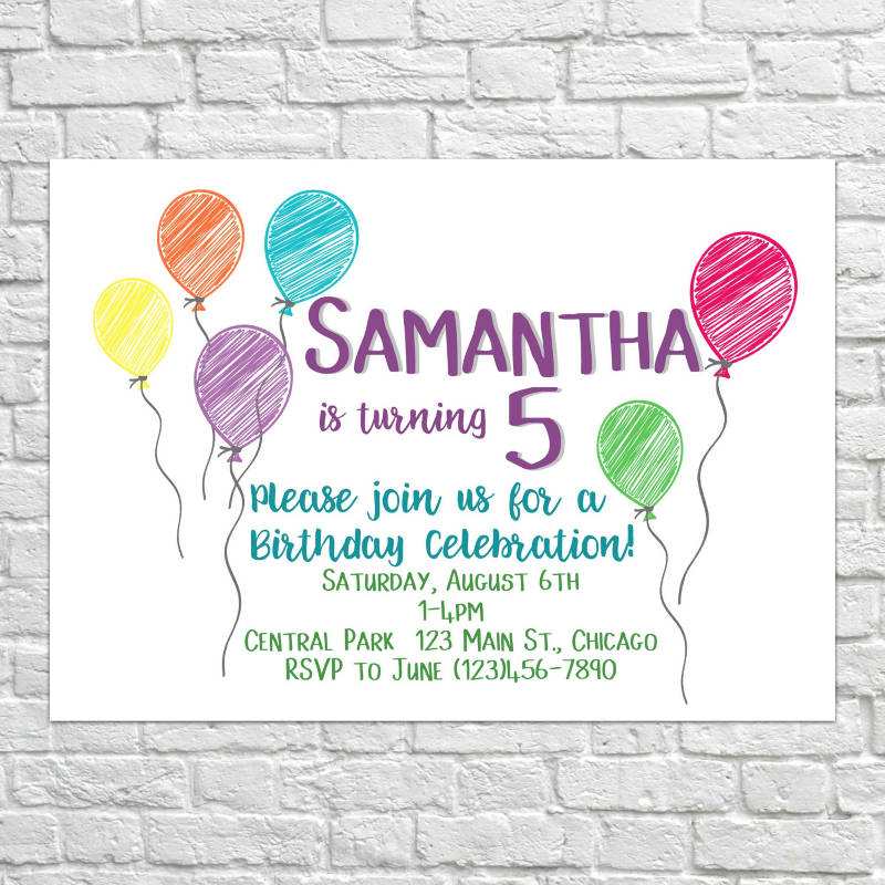 printable kids birthday invitation design