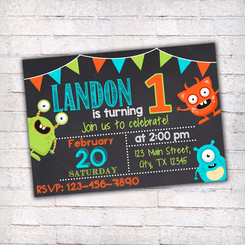 printable monster birthday invitation