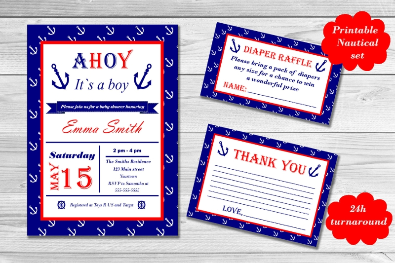 printable nautical baby shower invitation