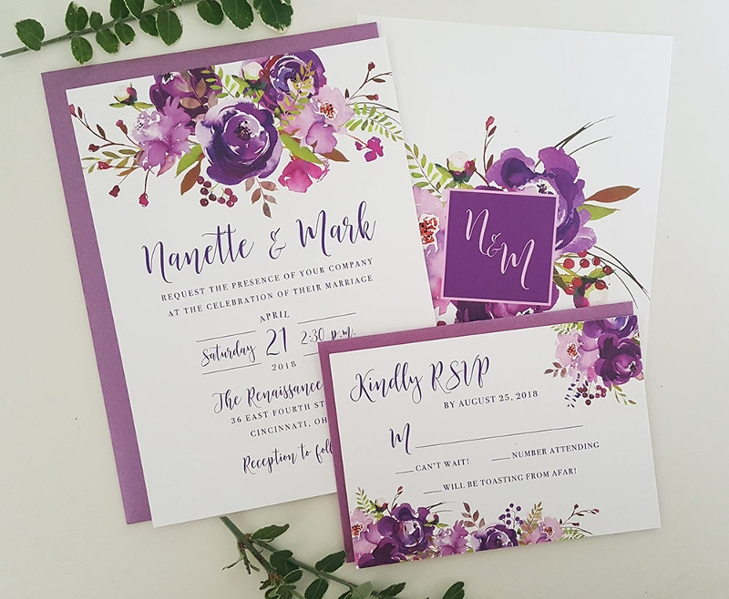 printable purple wedding invitation