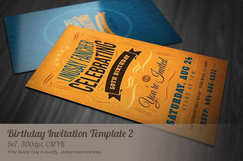 printable retro birthday invitation