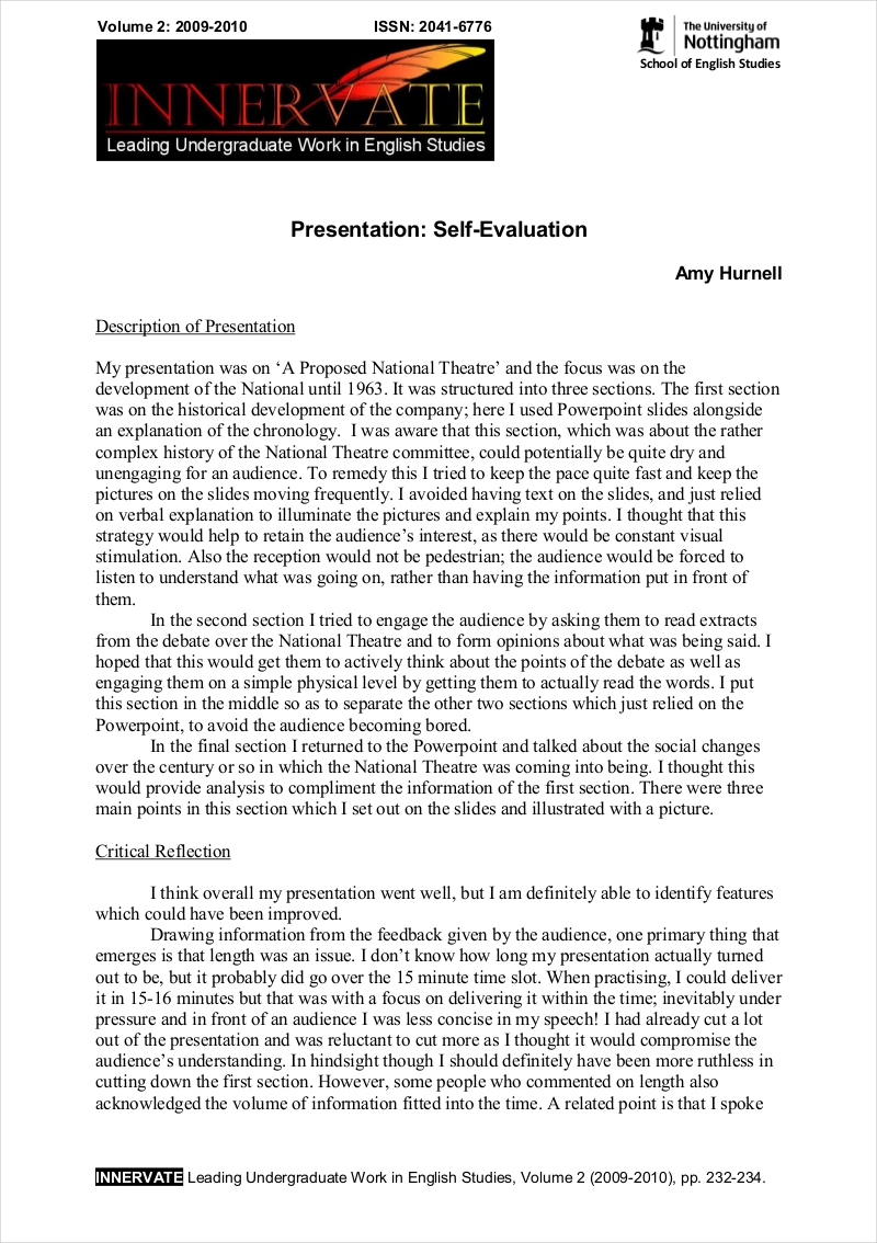 presentation self-evaluation essay Group presentations and report writing  how will we introduce the presentation, link the parts together and conclude how are we going to keep the audience.