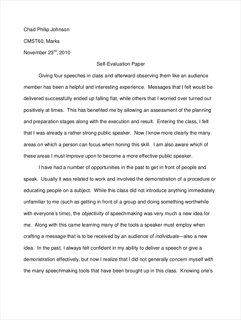 Evaluative essay