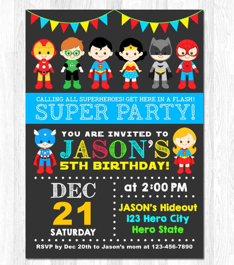 photograph regarding Printable Superhero Invitations titled 17+ Superhero Invitation Models and Illustrations PSD, AI
