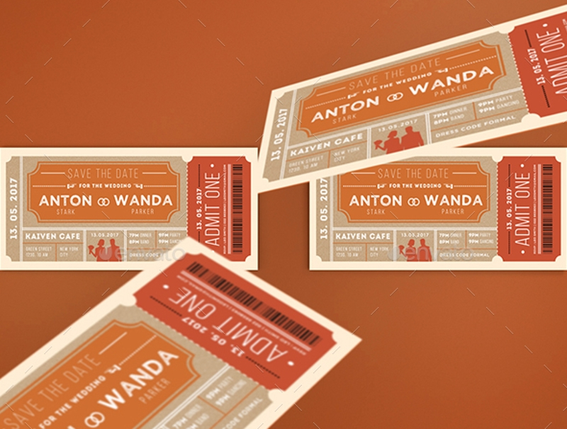 printable wedding invitation ticket