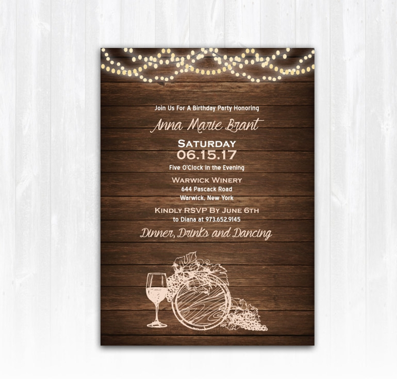printable wine birthday invitation