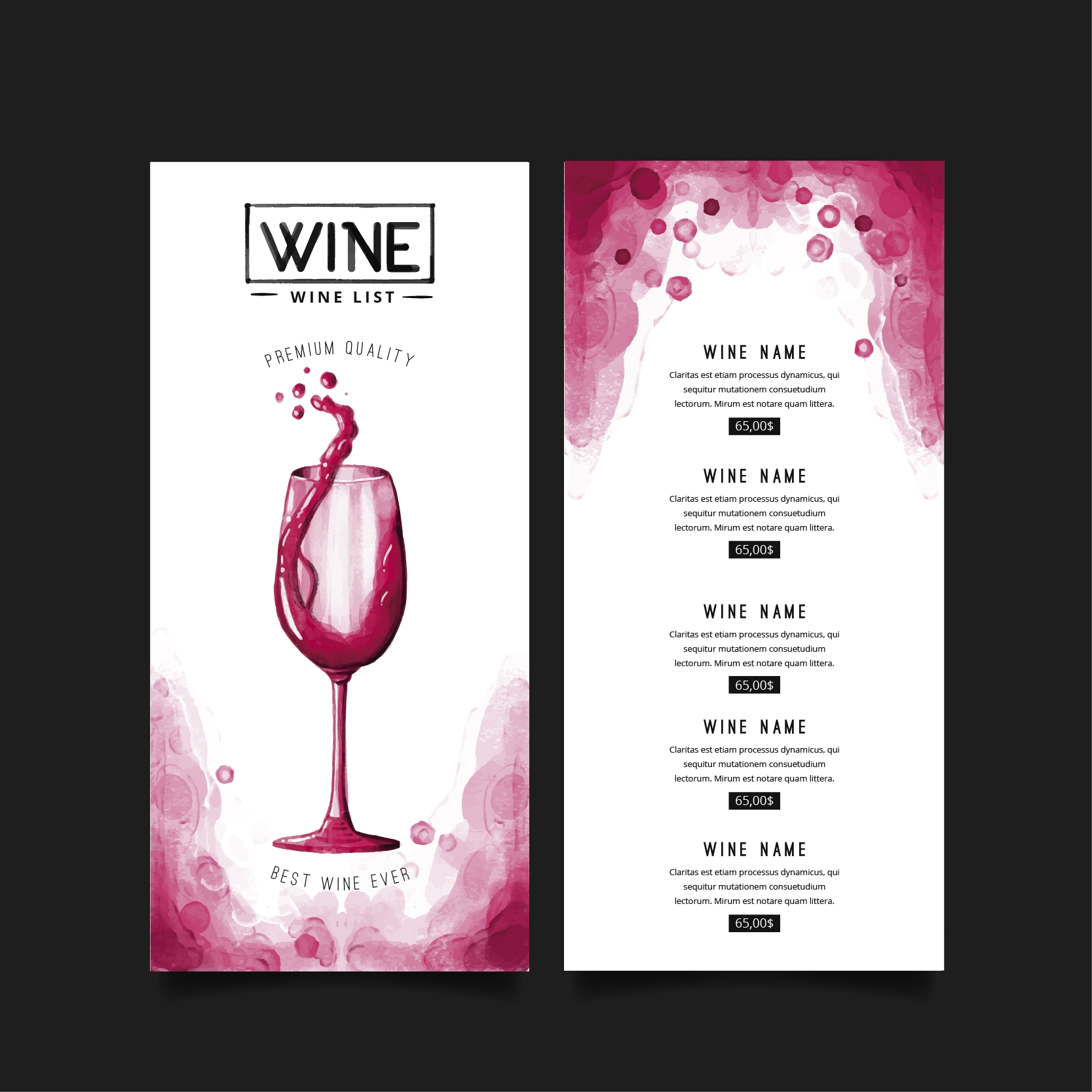 Printable Wine Menu