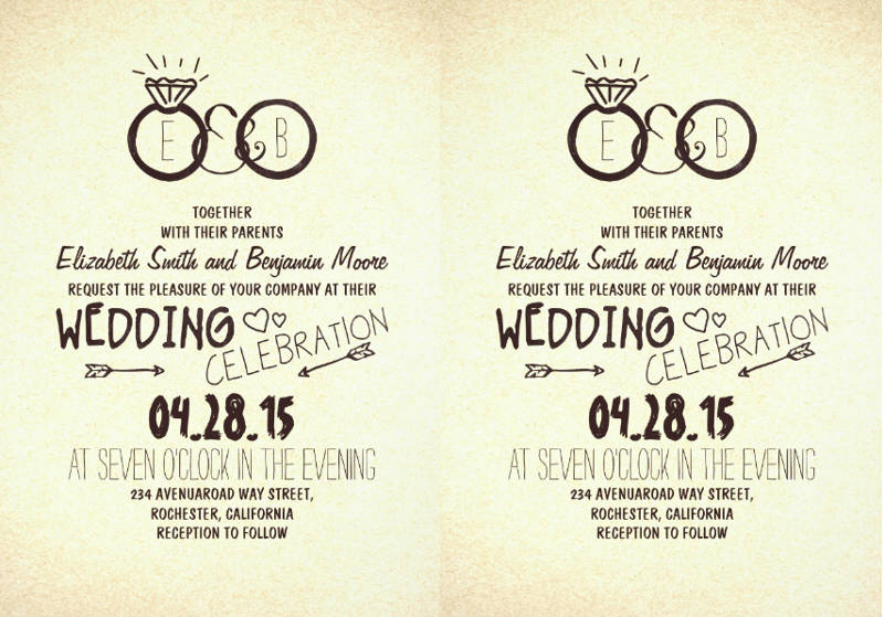 printbale creative wedding invitation