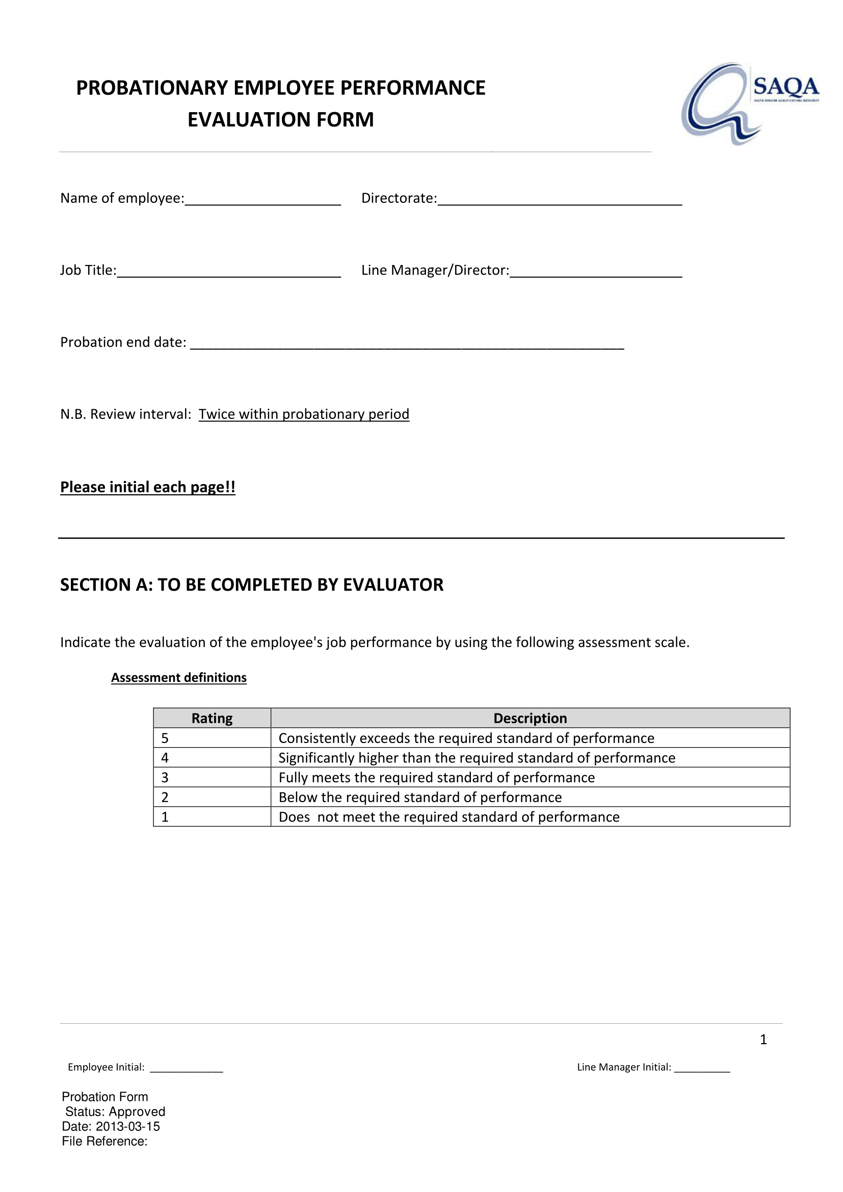 probationary employee performance evaluation form 1