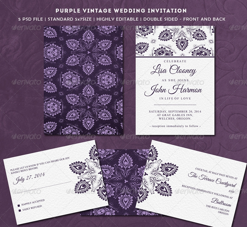 purple vintage wedding invitation