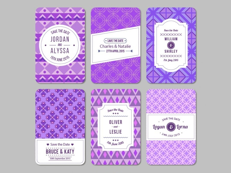 purple geometric wedding invitation