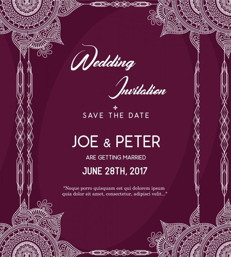 purple wedding invitation in vector