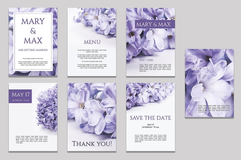 purple wedding invitations bundle