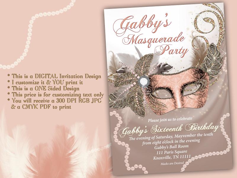 quinceanera masquerade invitation