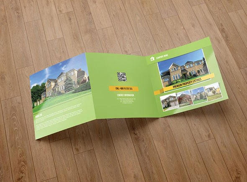 real estate agency square trifold brochure