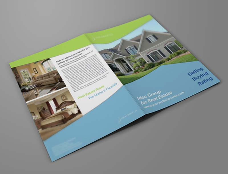 real estate company bi fold brochure design