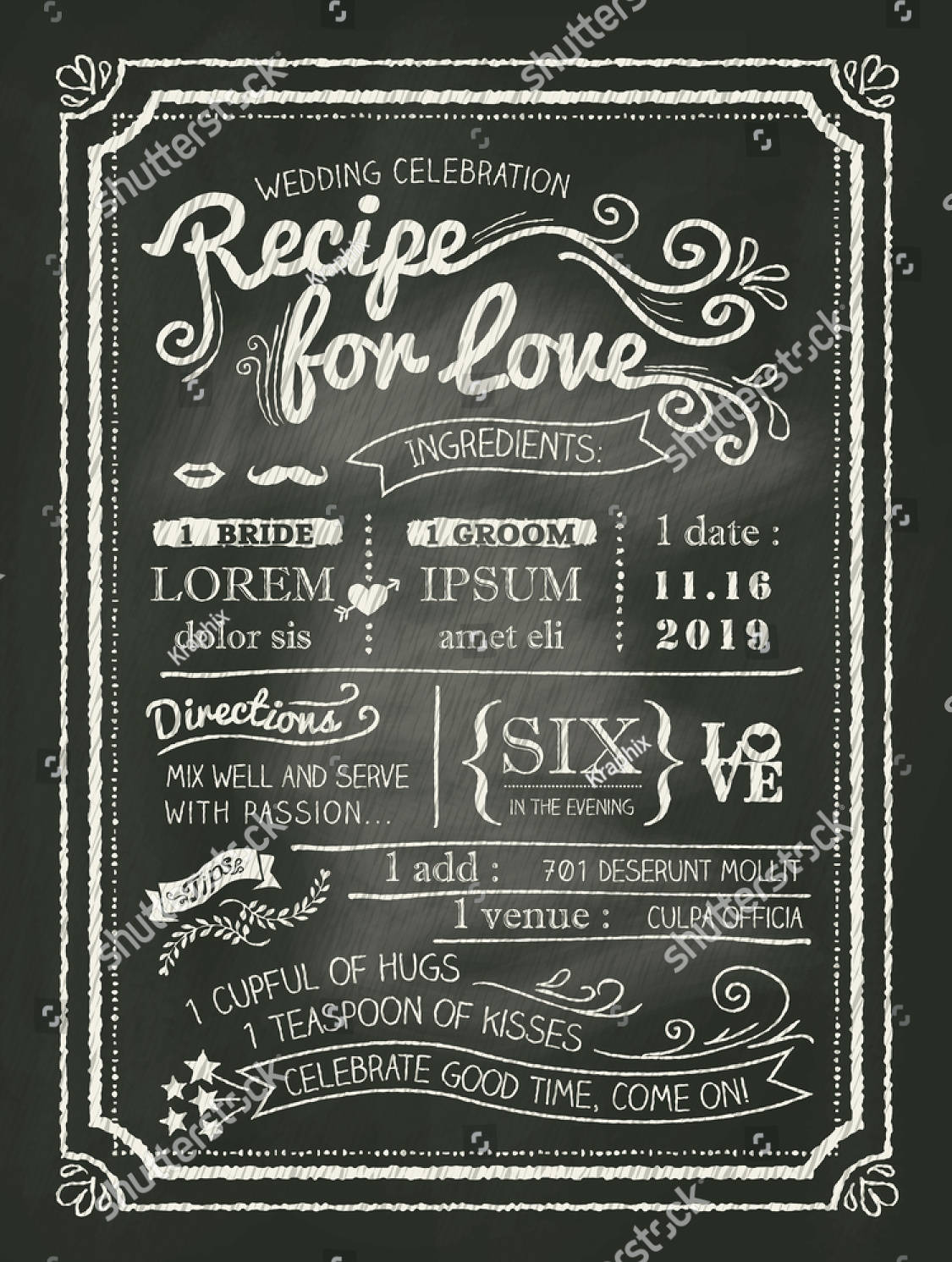 recipe chalkboard wedding invitation