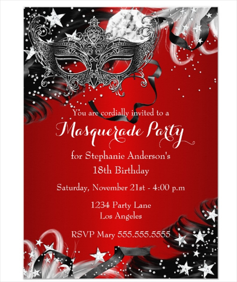 red sparkle magical night masquerade party invitation