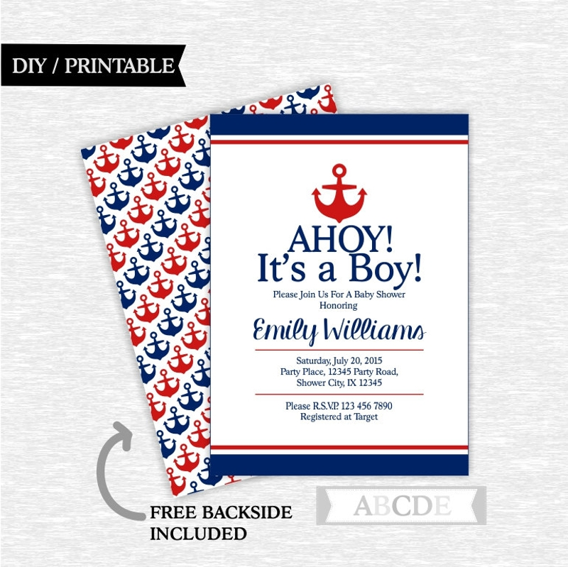 red and navy nautical baby shower invitation