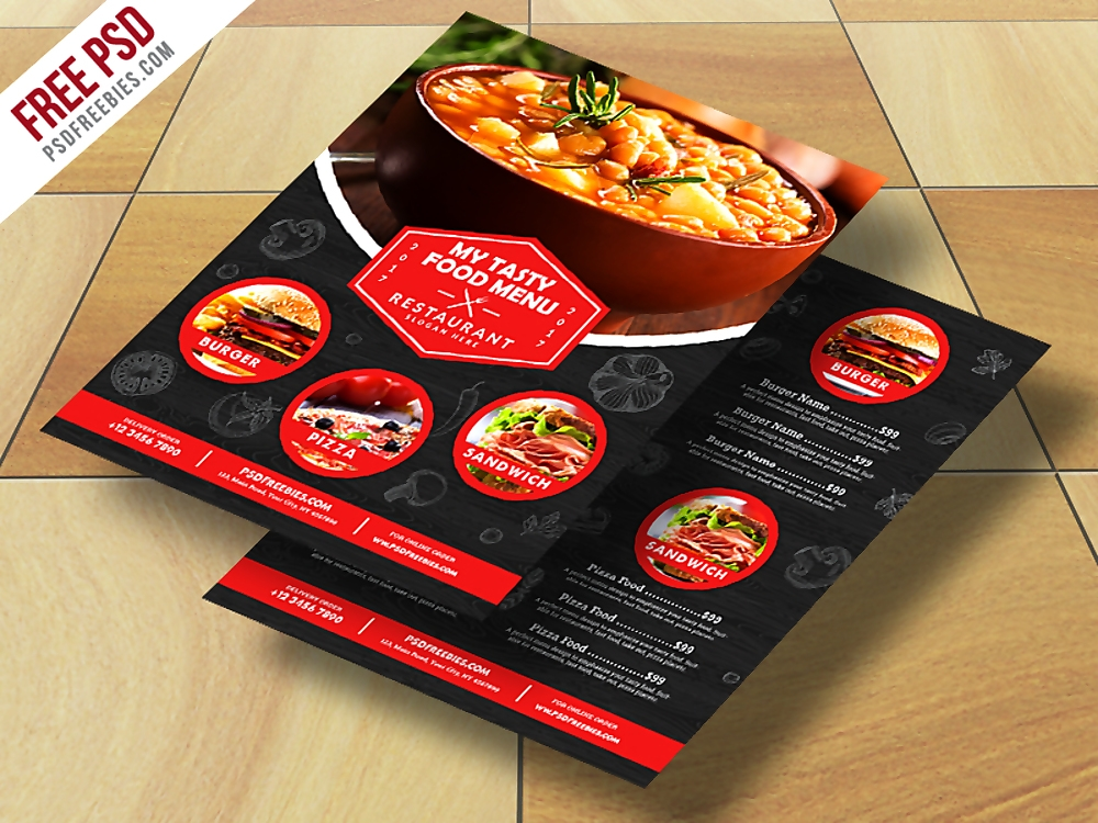 restaurant food menu flyer free psd 1