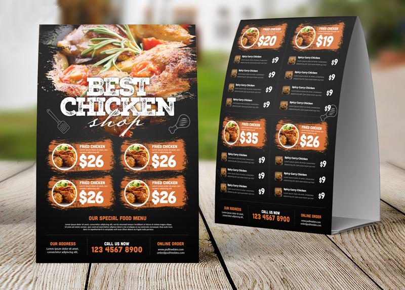 restaurant tent menu card in psd