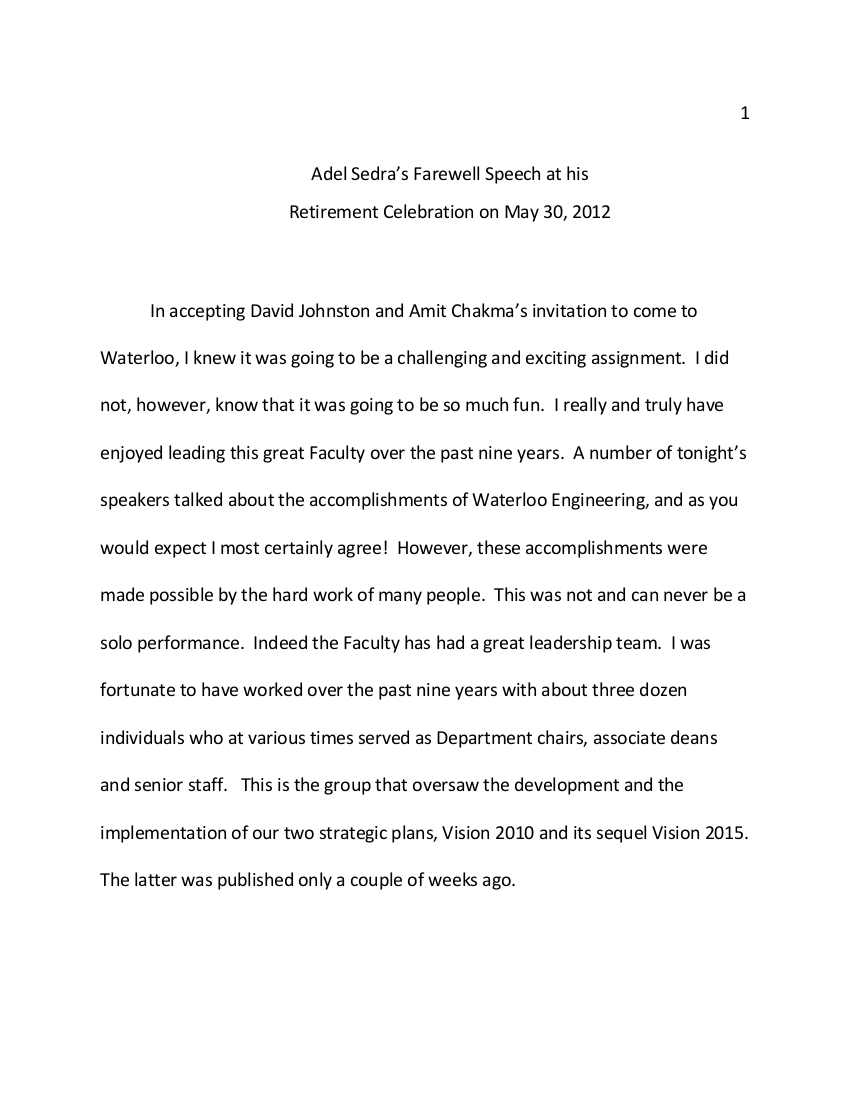 Farewell Speech Examples  Pdf