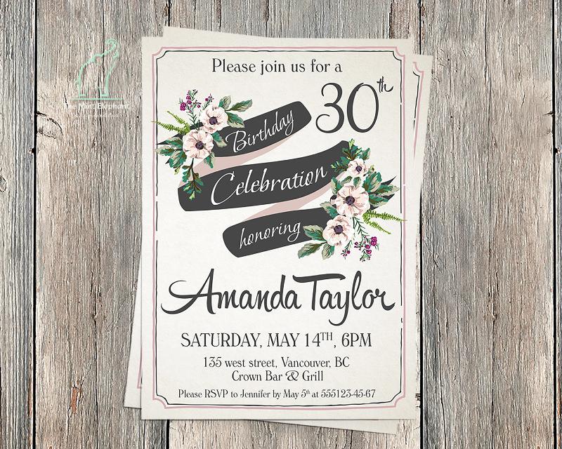retro birthday invitation template1