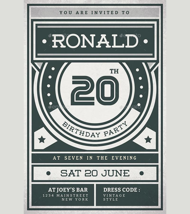 retro birthday invitation in psd