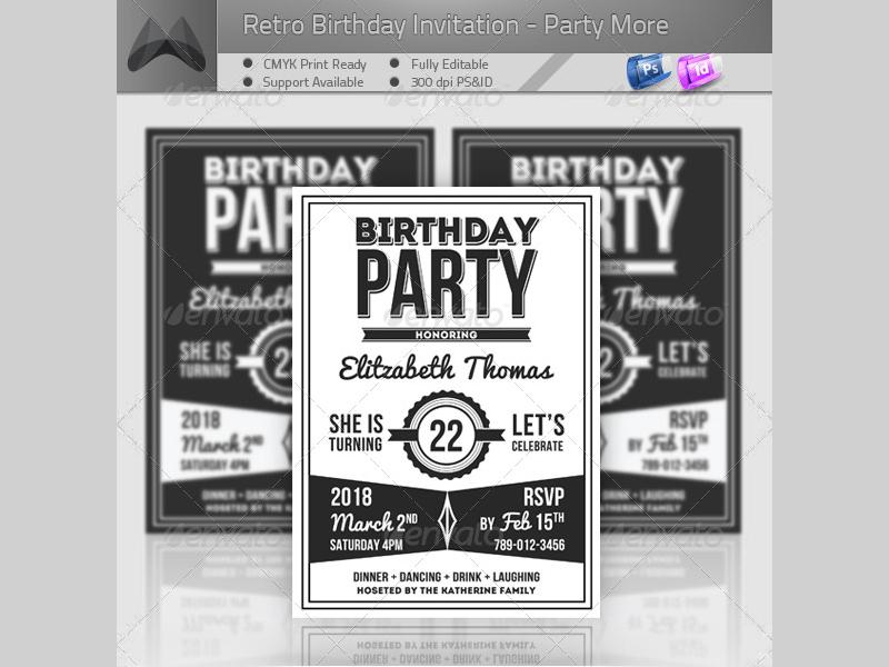 retro birthday invitation4
