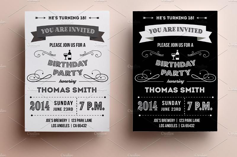 retro birthday party invitation