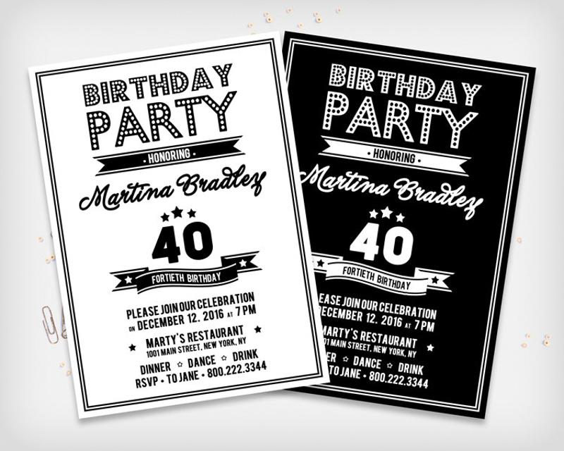 retro black white birthday invitation