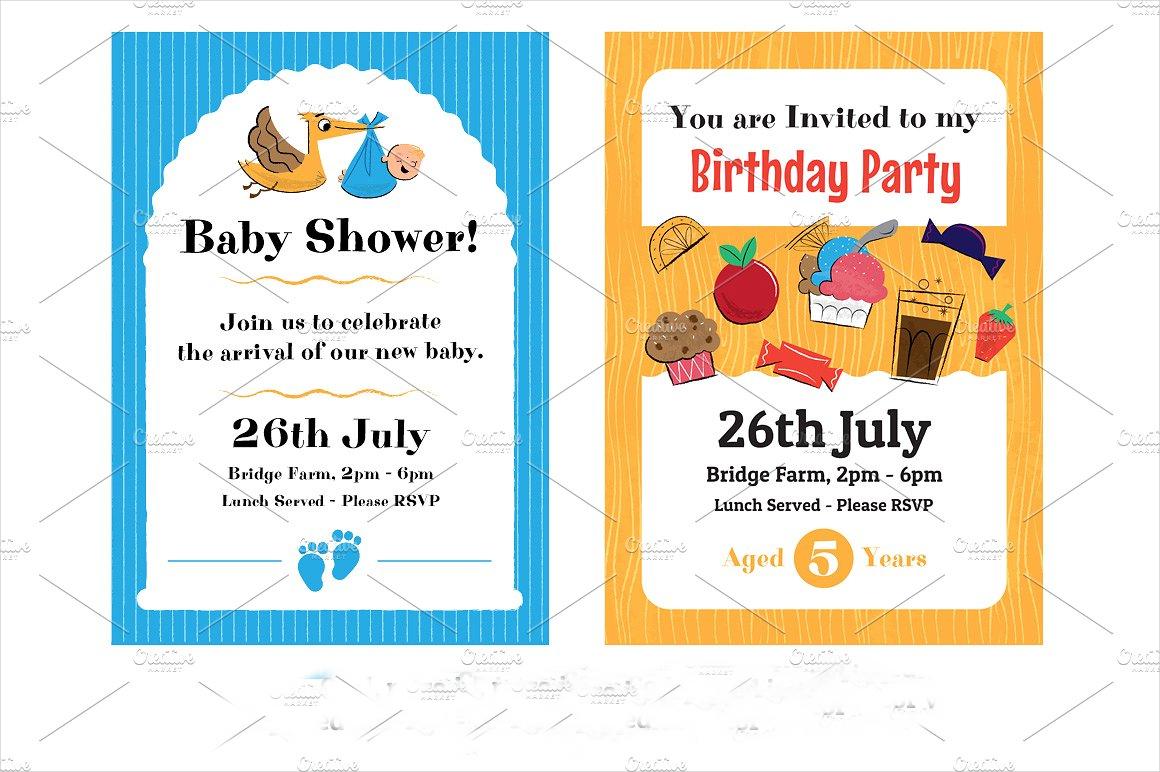 retro childrens party invitation
