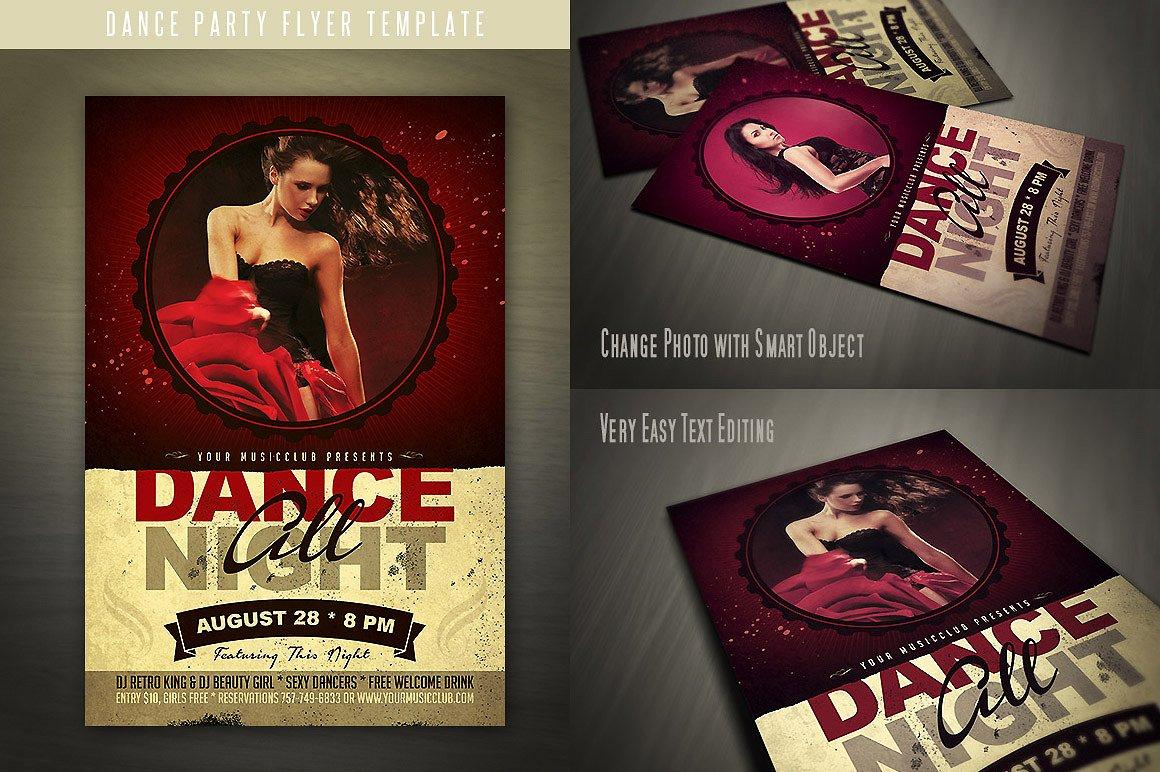 retro dance party invitation