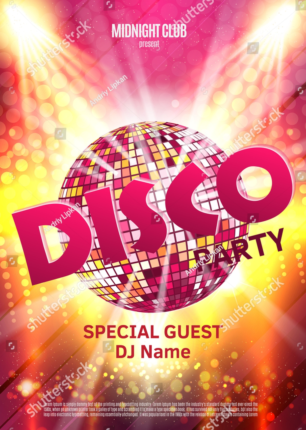 retro disco party invitation
