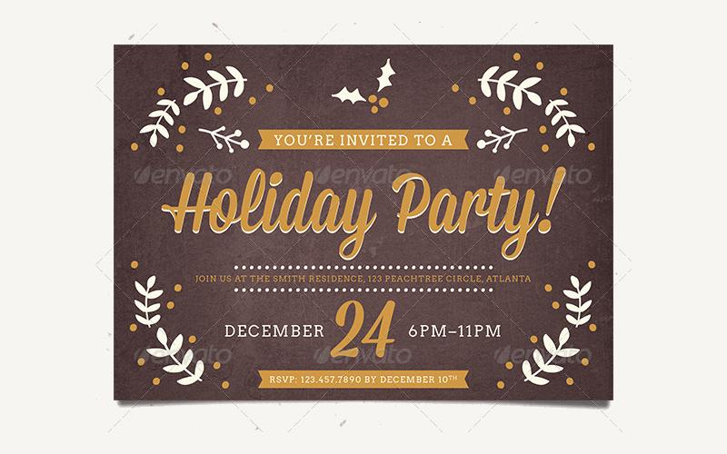 retro holiday party invitation