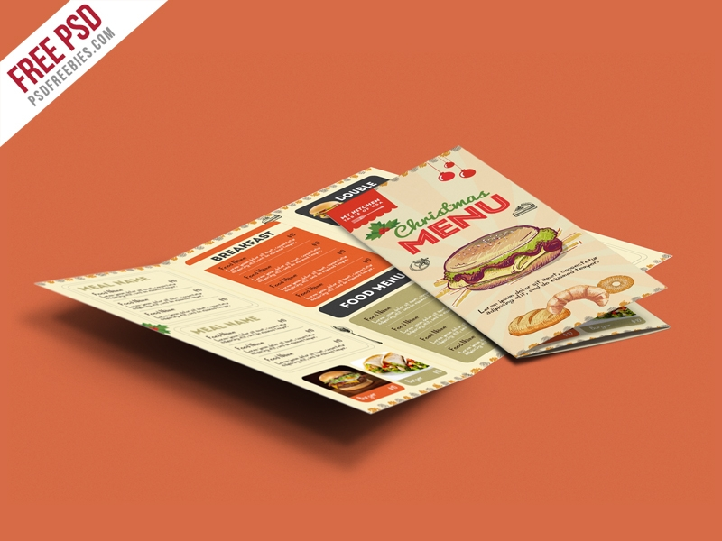 retro restaurant food menu brochure
