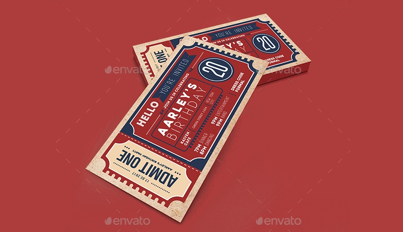 retro ticket invitation