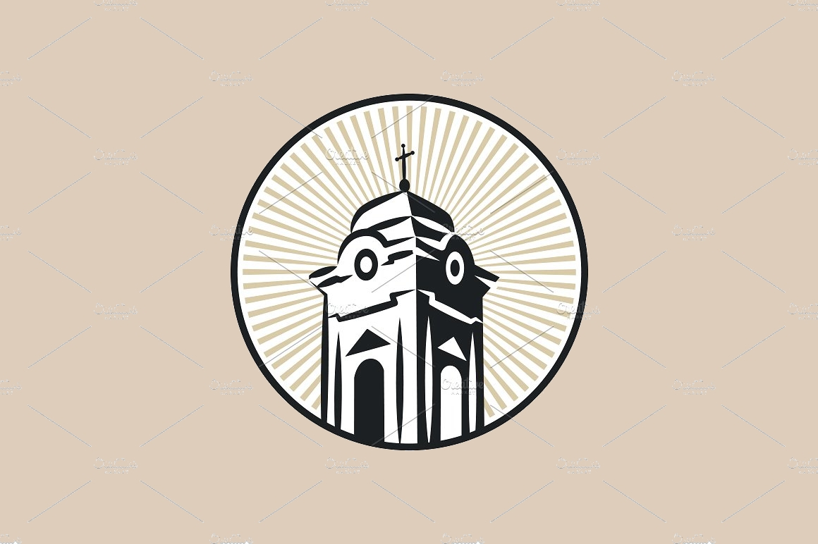 roman catholic church tower logo