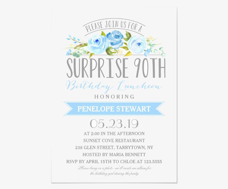rose banner 90th birthday luncheon invitation1