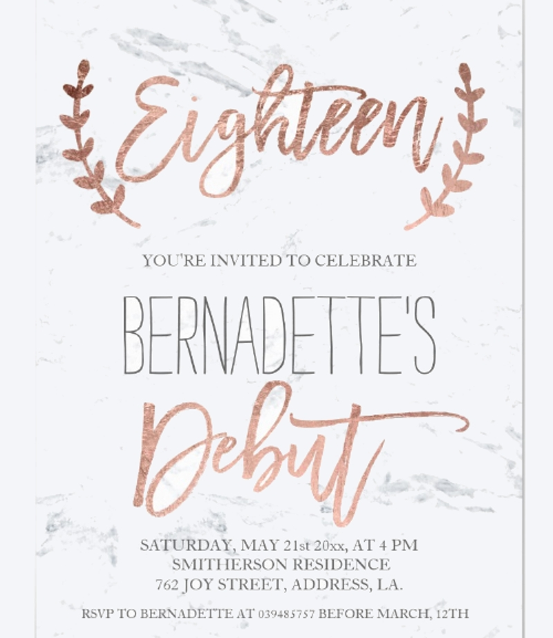 Free 14 Debut Invitation Designs Examples In Psd Ai